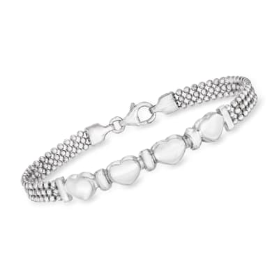 Italian Sterling Silver Multi-Heart Beaded Bracelet
