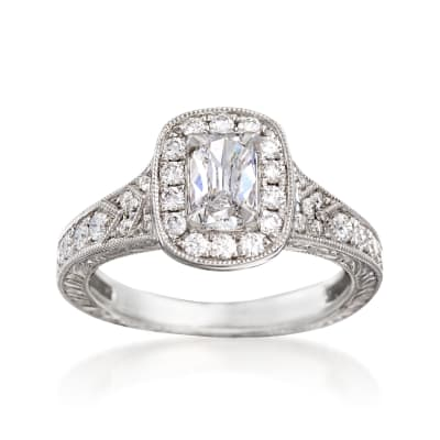 Henri Daussi 1.09 ct. t.w. Diamond Engagement Ring in 18kt White Gold