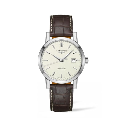 Longines 1832 Men's 40mm Automatic Stainless Steel Watch with Brown Leather