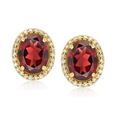 4.40 ct. t.w. Garnet and .21 ct. t.w. Diamond Earrings in 14kt Yellow Gold