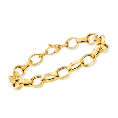 Italian 14kt Yellow Gold Faceted Oval-Link Bracelet