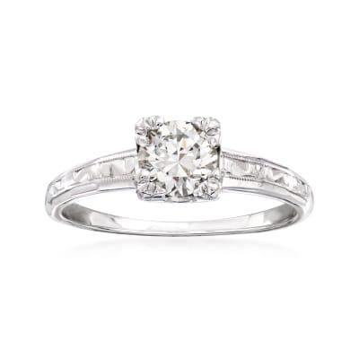 C. 1950 Vintage .65 Carat Diamond Ring in 14kt White Gold