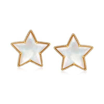 Mother-Of-Pearl and .53 ct. t.w. Diamond Star Earrings in 14kt White Gold