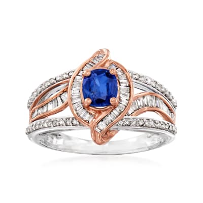 C. 1990 Vintage .55 Carat Sapphire and .75 ct. t.w. Diamond Ring in 14kt Two-Tone Gold