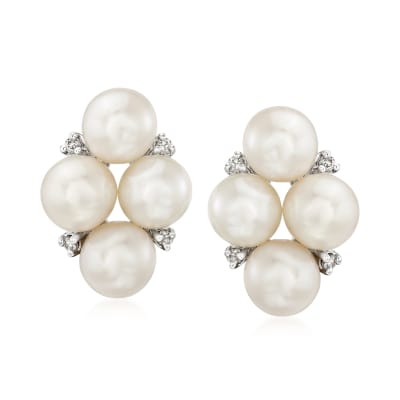 6-6.5mm Cultured Pearl and .12 ct. t.w. Diamond Earrings in Sterling Silver