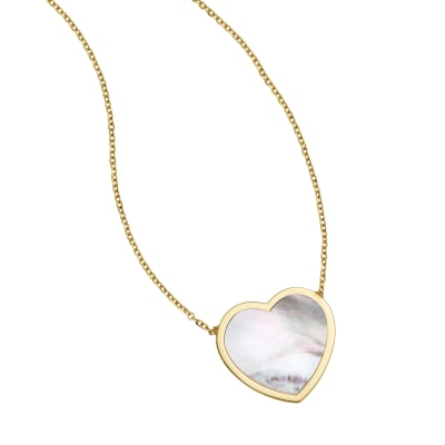 Italian Mother-Of-Pearl Heart Necklace in 14kt Yellow Gold