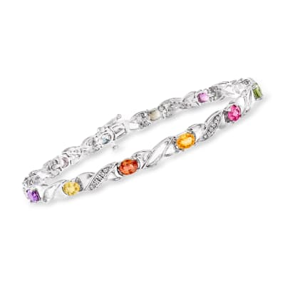 C. 1990 Vintage 4.50 ct. t.w. Multicolored Sapphire and .36 ct. t.w. Diamond Bracelet in 14kt White Gold