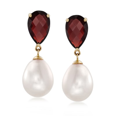 6.50 ct. t.w. Garnet and 14x10mm Cultured Pearl Drop Earrings in 14kt Yellow Gold