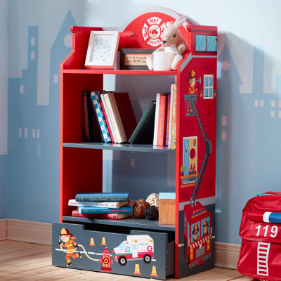 "Child's ""Little Fire Fighters"" Wooden Bookshelf"