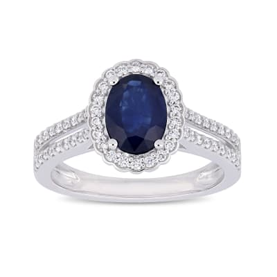 1.60 Carat Sapphire and .33 ct. t.w. Diamond Halo Ring in 14kt White Gold