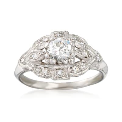 C. 1980 Vintage .75 ct. t.w. Diamond Milgrain Ring in Platinum