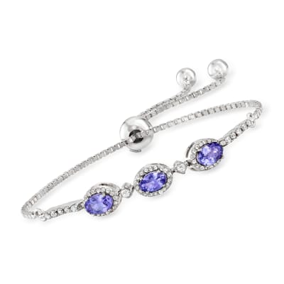 1.35 ct. t.w. Tanzanite and .70 ct. t.w. White Zircon Bolo Bracelet in Sterling Silver