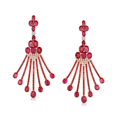 17.00 ct. t.w. Ruby and .63 ct. t.w. Diamond Drop Earrings in 18kt Rose Gold
