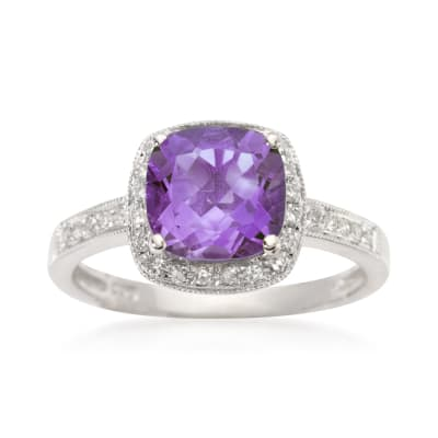 2.05 Carat Amethyst and .10 ct. t.w. Diamond Ring in 14kt White Gold