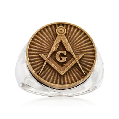 Men's Masonic Square and Compasses Coin Ring in Sterling Silver