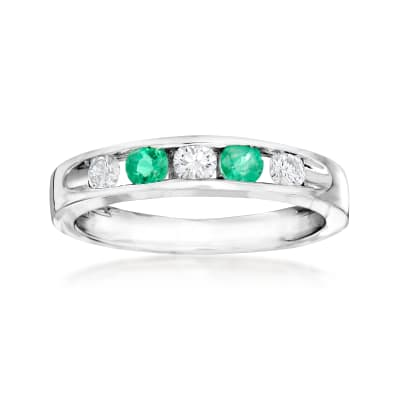 C. 1990 Vintage Giantti .30 ct. t.w. Emerald and .30 ct. t.w. Diamond Band in 18kt White Gold