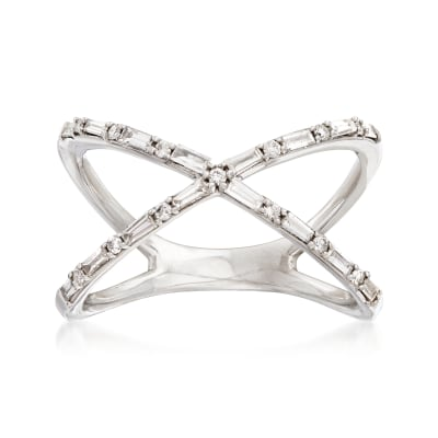 29 ct. t.w. Diamond Crisscross Ring in 14kt White Gold