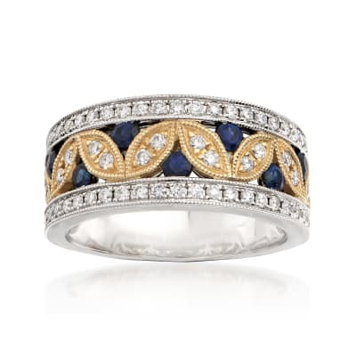 .62 ct. t.w. Diamond and .40 ct. t.w. Sapphire Leaf Ring in 14kt Two-Tone Gold