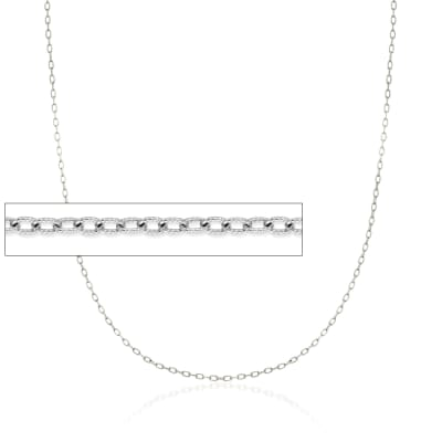 1.9mm 14kt White Gold Textured Cable Chain Necklace