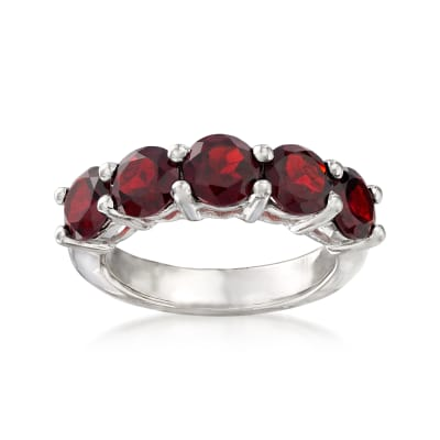 3.50 ct. t.w. Garnet Five-Stone Ring in Sterling Silver