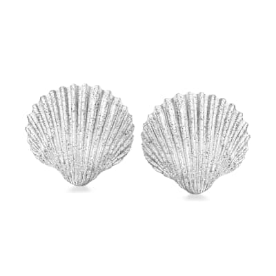 Italian Sterling Silver Sparkle Seashell Earrings