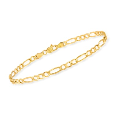 Men's 3.8mm 14kt Yellow Gold Figaro Chain Bracelet