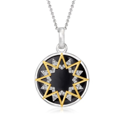 .12 ct. t.w. Diamond Starburst Cut-Out and Black Enamel Pendant Necklace in Sterling Silver and 18kt Gold Over Sterling
