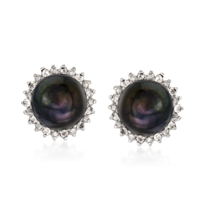 7-7.5mm Cultured Button Pearl and .13 ct. t.w. Diamond Stud Earrings in Sterling Silver