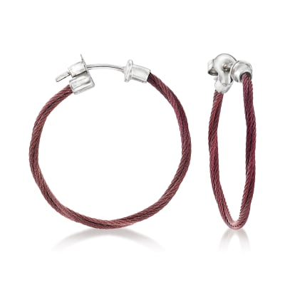 "ALOR ""Classique"" Burgundy Stainless Steel Hoop Earrings with 18kt White Gold"