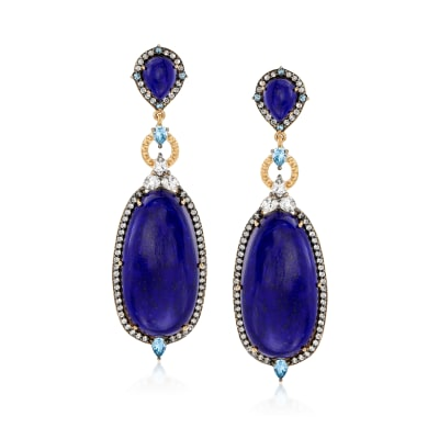 Lapis and 3.00 ct. t.w. Blue and White Topaz Drop Earrings in 18kt Gold Over Sterling