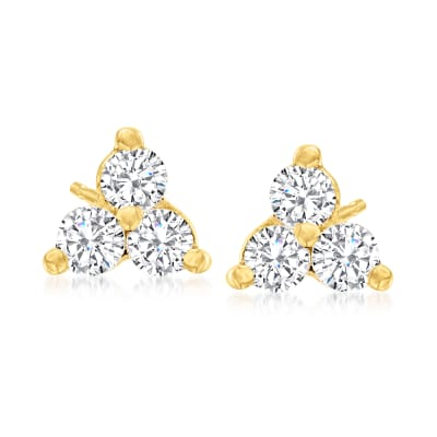 .51 ct. t.w. Diamond Trio Stud Earrings in 14kt Yellow Gold