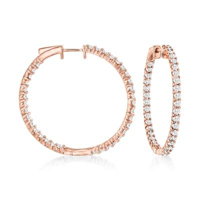 3.00 ct. t.w. Diamond Inside-Outside Hoop Earrings in 18kt Rose Gold Over Sterling