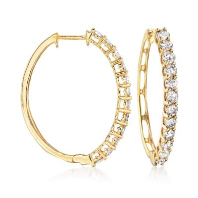 4.00 ct. t.w.  Diamond Hoop Earrings in 14kt Yellow Gold