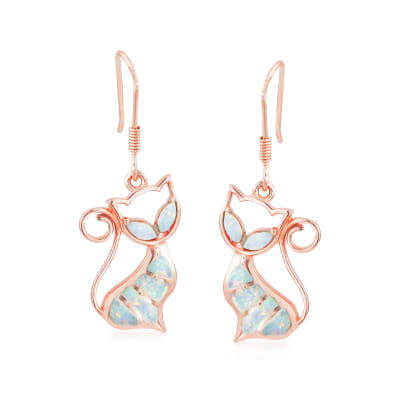 Synthetic Opal Cat Wire Drop Earrings in 18kt Rose Gold Over Sterling Silver