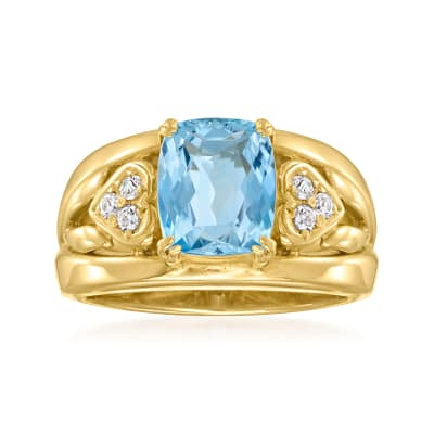 C. 1980 Vintage 1.60 Carat Aquamarine and .12 ct. t.w. Diamond Ring in 18kt Yellow Gold