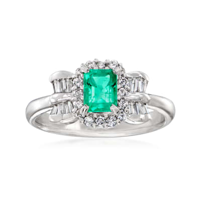 C. 1990 Vintage .52 Carat Emerald and .38 ct. t.w. Diamond Ring in Platinum