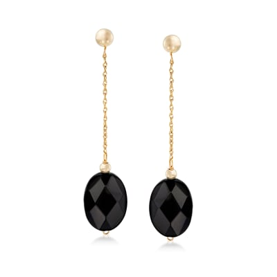 Black Onyx Bead and 14kt Yellow Gold Chain Drop Earrings