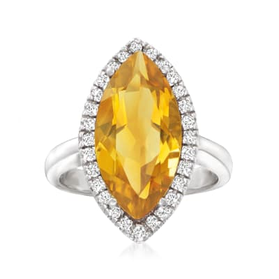 5.50 Carat Citrine and .28 ct. t.w. Diamond Ring in 14kt White Gold