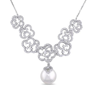 11-12mm Cultured South Sea Pearl and 1.70 ct. t.w. Diamond Necklace in 14kt White Gold