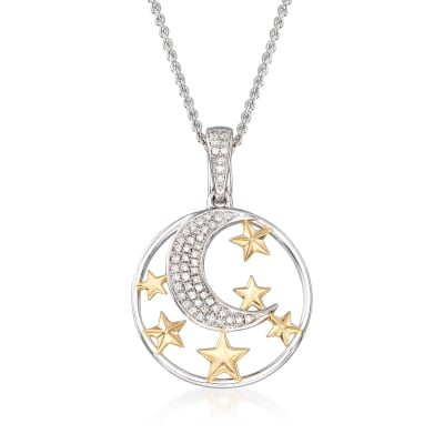 .15 ct. t.w. Diamond Moon and Star Pendant Necklace in Sterling and 18kt Gold Over Sterling