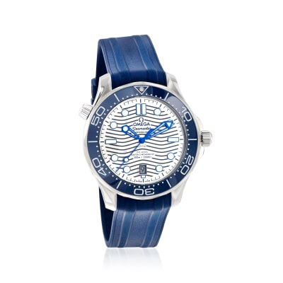 Omega Seamaster Diver Men's 42mm Automatic Stainless Steel Watch with Blue Rubber Strap