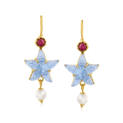 Tagliamonte Blue Venetian Glass Starfish Drop Earrings with .50 ct. t.w. Ruby and Cultured Pearls in 18kt Gold Over Sterling