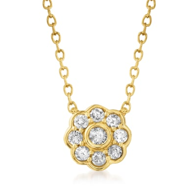 .20 ct. t.w. Diamond Flower Necklace in 14kt Yellow Gold