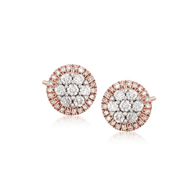 .33 ct. t.w. Diamond Halo Cluster Stud Earrings in 14kt Rose Gold