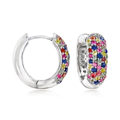 1.50 ct. t.w. Multicolored Sapphire Huggie Hoop Earrings in Sterling Silver