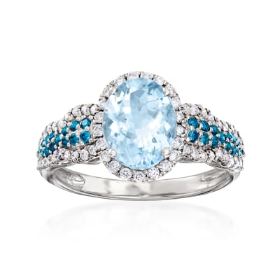 1.70 Carat Aquamarine and .64 ct. t.w. Blue and White Diamond Halo Ring in 14kt White Gold