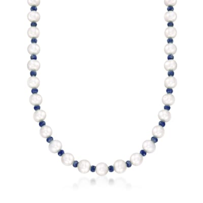 13.00 ct. t.w. Sapphire and 8-8.5mm Cultured Pearl Necklace with 14kt Yellow Gold