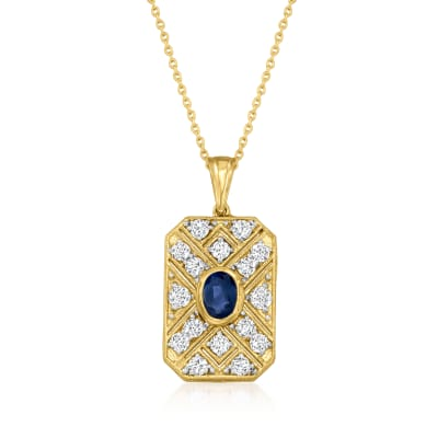 2.00 ct. t.w. White Topaz and 1.40 Carat Sapphire Pendant Necklace in 18kt Gold Over Sterling