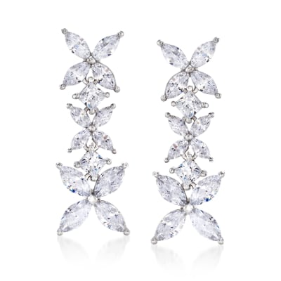 4.80 ct. t.w. Princess-Cut and Marquise CZ Floral Drop Earrings in Sterling Silver