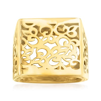Italian 14kt Yellow Gold Filigree Square-Top Ring